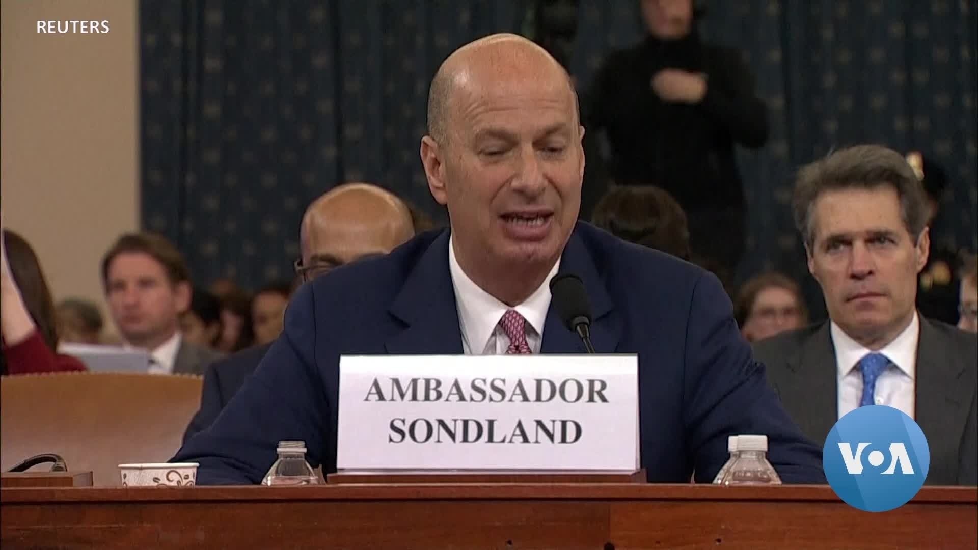 Sondland to US Lawmakers: Trump Conditioned Aid to Ukraine on Investigations