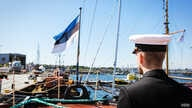 At the Maritime Museum, Estonia's flag flies off the bow of the freshly restoredd icebreaker Suur Tõll. During its century in existence, this German-made boat has through the hands of Czars,  Soviets, and Estonian nationalists. (Vera Undritz/VOA)