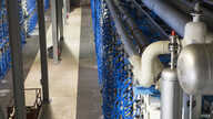 Some of the 2,000 pressure vessels housing more than 16,000 reverse osmosis membranes at the Carlsbad Desalination Plant in Carlsbad, CA. Salt and other minerals are separated from the water with high pressure, making it fit for consumption.