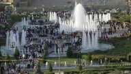 FILE - A photo shows a downtown park with fountains in Irbil, Iraqi Kurdistan's capital, during somewhat better economic times, Sept. 22, 2013.