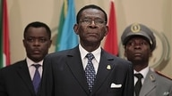Equatorial Guinea President Teodoro Obiang Nguema, center, July 1, 2011.