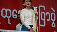 Burma's opposition leader Aung San Suu Kyi speaks during a rally in the central city of Mandalay, May 18,  2014.