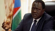 South Sudan's minister of petroleum, Ezekiel Lol Gatkuoth, speaks during a Reuters interview in his office in Juba, South Sudan, Oct.  10, 2017.