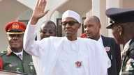 Nigeria President Muhammadu Buhari, waves after a meeting in Abuja, Nigeria, Jan. 9, 2017. Buhari will travel with three West African heads of state to Gambia in an effort to persuade its longtime leader Yahya Jammeh to step down.