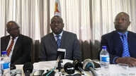 """Zimbabwe's new foreign minister, Sibusiso Moyo, addresses diplomats and the media in Harare, Zimbabwe, Dec. 2017. He says there are """"no angels"""" that should dictate his country's foreign policy. (S. Mhofu/VOA)"""