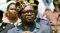 President Mobutu Sese Seko of what was then Zaire watches a military parade in Kinshasa, Zaire, June 1976. Zaire today is the Democratic Republic of Congo (DRC).