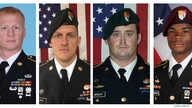 A combination photo of U.S. Army Special Forces Sergeant Jeremiah Johnson (L to R), U.S. Special Forces Sgt. Bryan Black, U.S. Special Forces Sgt. Dustin Wright and U.S. Special Forces Sgt. La David Johnson killed in Niger, West Africa, Oct. 4, 2017,...