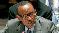 FILE- Rwandan President Paul Kagame speaks during a United Nations Security Council meeting at U.N. headquarters, Sept. 24, 2014.