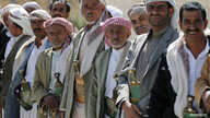 FILE - Pro-government tribesmen attend a tribal gathering to denounce the deployment of militants of the Shi'ite Houthi group, near Amran city, the capital of Amran province north of the Yemeni capital Sanaa, April 13, 2014.