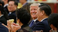 U.S. President Donald Trump and China's President Xi Jinping attend a state dinner at the Great Hall of the People in Beijing, China, Nov. 9, 2017.