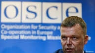 Principal Deputy Chief of the Special Monitoring Mission of the Organization for Security and Cooperation (OSCE) to Ukraine Alexander Hug speaks during a news conference in Kyiv, Ukraine, April 23, 2017.