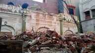 FILE - Debris remains from an Ahmadi mosque that was demolished by an angry mob on May, 24, 2018, in the eastern city of Sialkot, Pakistan,Sept. 27, 2018.
