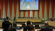 South Sudan President Salva Kiir (on screen) addresses via video teleconferencing a high-level meeting on his country, held on the margins of the general debate of the U.N. General Assembly's 70th session.