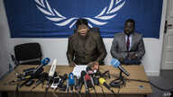 The International Criminal Court's (ICC) chief prosecutor, Fatou Bensouda (C), holds a press conference during her visit to look into allegations of extreme violence on May 3, 2018 in Kinshasa, Democratic Republic of Congo..