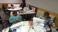 Several women gather each week in the Fulton Community Center in Fulton, Ill., to talk and work on sewing and crochet projects, but one thing they don't discuss is politics.