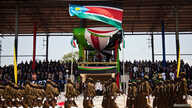 Members of the Sudan People's Liberation Army (SPLA) march during celebrations to mark the first anniversary of South Sudan's independence in Juba, July 9, 2012. South Sudanese celebrating their nation's first birthday on Monday will bask in the prid