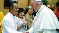 Sovan Tun, head of the the Cambodian Buddhist Society of Wat Buddhikaram Temple in Maryland, greets Pope Francis at the Vatican in Rome, in June 2015. (Photo courtesy of the Vatican/Sovan Tun)