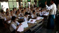 Teachers of basic education receive a training for nationwide census at a school in Kyaung Gone township, Burma, March 20, 2014.
