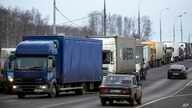 FILE - Long-haul truck drivers converge about 30 kilometers south of Moscow, Russia, Dec. 3, 2015. The drivers were protesting a proposed new road tax for long-distance haulers. Long-distance truck drivers across Russia have begun a new series of pro