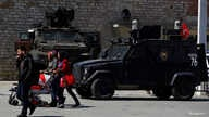Turkish police armored vehicles are parked at Taksim Square in central Istanbul, April 14, 2017.