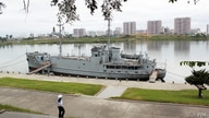 USS Pueblo, which was captured by North Korea more than 40 years ago, is exhibited in the Daedong River in Pyongyang. (Sungwon Baik/VOA)