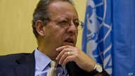 Jamal Benomar, the U.N. special envoy to Yemen and the country's chief political interlocutor since 2011, speaks to a reporter during an interview with AP in Sanaa, Sept. 28, 2014.