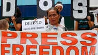 Protesters rally outside the armed forces headquarters to mark World Press Freedom Day which was declared by the UN General Assembly in 1993, May 3, 2019, in Manila, Philippines.
