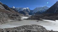 A view of the Imja glacial lake controlled exit channel in the Everest region of the Solukhumbu district, 140 km northeast of Kathmandu, Nov. 22, 2018. Nepal's Imja glacial lake would be a miracle to behold, were it not a portent of catastrophic floods.