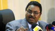 FILE - Salah Gosh, special security adviser to President Omar al-Bashir, speaks during a news conference in Khartoum, March 13, 2011.