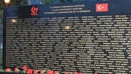 """A screenshot from the Tirana Times shows an image of the monument erected for the """"15 July Democracy Martyrs,"""" published Aug. 12, 2019."""