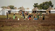 In this photo taken Oct. 24, 2017, South Sudanese refugees are seen at the Nguenyyiel refugee camp during a visit by  U.S. Ambassador to the United Nations Nikki Haley to Gambella region, Ethiopia.