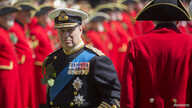 Britain's Prince Andrew reviews Chelsea Pensioners during the Founder's Day Parade at the Royal Hospital Chelsea in London,…