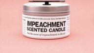 Scented impeachment candle created by JD and Kate Dobson mixes the scents of peach and mint.