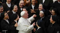 Pope Francis greets a group of nuns during his weekly general audience, in Paul VI Hall at the Vatican, Jan. 15, 2020.