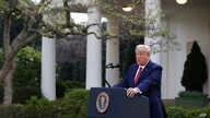 President Donald Trump speaks during a coronavirus task force briefing in the Rose Garden of the White House, March 29.