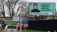 A billboard highlighting the 2020 Census is seen in Dearborn, Michigan, April 30, 2020.