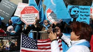 FILE - Uighur activists and their supporters rally in defense of Uighur rights in China, across the street from United Nations headquarters in New York City, March 15, 2018.