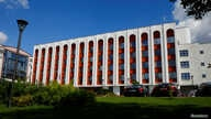 FILE - A general view shows the building of the Foreign Ministry of Belarus, in Minsk, Feb. 16, 2016.