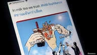 """FILE - A mobile phone displays an internet meme of a growing online movement called """"Milk Tea Alliance"""" to show solidarity between Thailand, Taiwan and Hong Kong, in this illustration photo, taken April 15, 2020."""