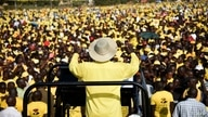 Uganda's president Yoweri Museveni addresses supporters during a rally of the ruling National Resistance Movement (NRM) party…
