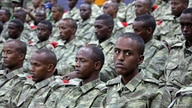 Somali soldiers attend a training session during the opening ceremony of a Turkish military base in Mogadishu, Somalia…