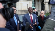 Gambia's Justice Minister Abubacarr Tambadou talks to the media after a hearing in a case filed by Gambia against Myanmar…
