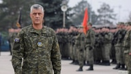 FILE PHOTO: Kosovo's President Hashim Thaci attends a ceremony of security forces a day before parliament's vote on whether to…