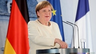 German Chancellor Angela Merkel speaks during a joint press conference with French President Emmanuel Macron (not pictured)…