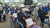 Veterans of the Korean War attend a ceremony in Cheorwon County, South Korea, June 25, 2020. (Lee Juhyun/VOA)