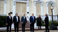President Donald Trump stands outside St. John's Church across Lafayette Park from the White House Monday, June 1, 2020, in…