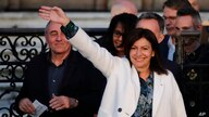 Paris mayor Anne Hidalgo arrives before delivering a speech after her victorious second round of the municipal election, Sunday…