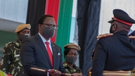 Malawi President elect Lazarus Chakwera (2nd L) receives a sword of office as Commander in-Chief of the Malawi  Armed Forces,…