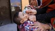 A boy receives polio vaccine drops during an anti-polio campaign in Peshawar, Pakistan February 17, 2020. REUTERS/Fayaz Aziz