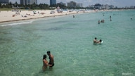 A general view of the South Beach as beaches are reopened with restrictions to limit the spread of the coronavirus disease.